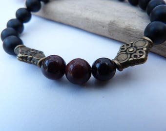 ᘛ ☽ mixed ethnic Bracelet in ᘚ red Tiger eye and onyx