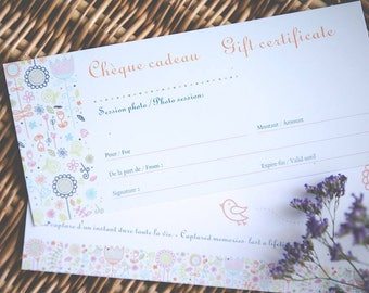 Gift sertificate for Dew Dream photography services, cheque cadeau de  Dew Dream photography