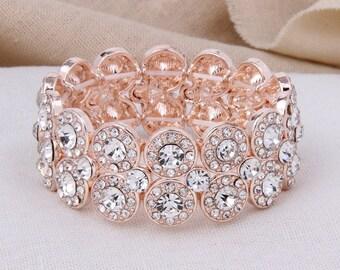 Bridal Bracelet Rose Gold, Wedding Bracelet, Rhinestone Bridal Bracelet, Rose Gold Bracelet, Bridesmaid Bracelet, Rose Gold Bridal Jewelry