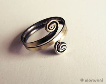 Ethnic ring - antiqued brass - small spirals - adjustable