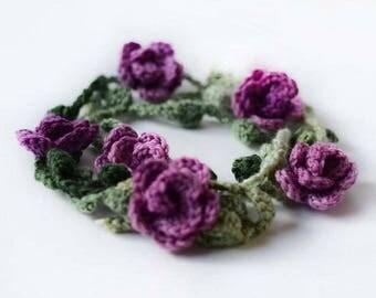 Crochet Necklace Pattern, Crochet Flower Necklace Pattern, Crochet Pattern, Crochet Beads, Pattern & Instructions, Crochet Garland