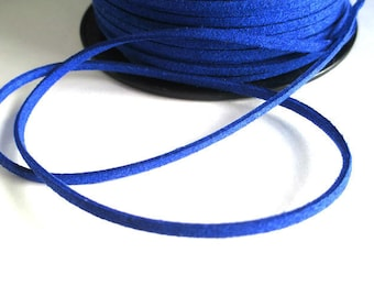 1 m blue electric suede 3 mm suede cord