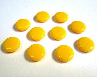 10 pucks 14x5mm yellow acrylic beads