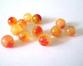 natural yellow jade and orange 8mm 10 beads