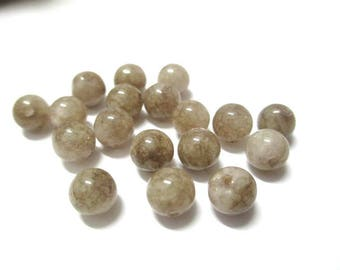 10 pearls natural mottled Brown jade 6mm (C)