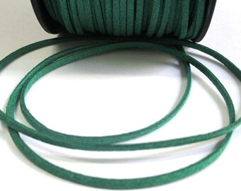 5 m glitter green suede 3 mm suede cord