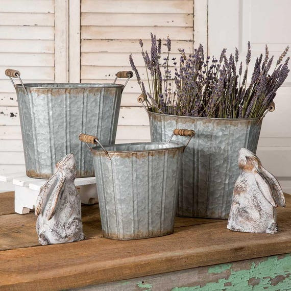Rustic Tapered Oval Pail with Wood Handles, Primitive Pail