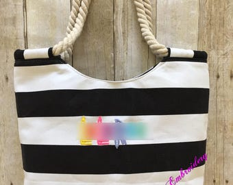 Black and White Lu La Embroidered Tote | Lu La Zippered Tote | LLR Bag | LLR Swag | Lu La Advertise | Consultant Gift