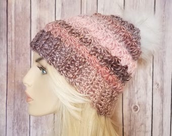 Crochet Women's Pink Slouch Beanie with PomPom