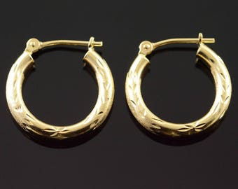 14k Hollow Accented Hoop Earrings Gold