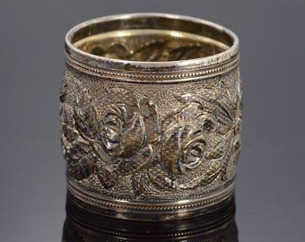 Ornate Textured Floral Motif Napkin Ring Sterling Silver
