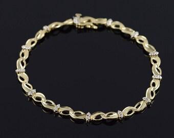 "10k Genuine Diamond Fancy Infinity Link Tennis Bracelet Gold 7.5"""