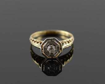 10k Victorian 0.15 Ct Old Mine Cut Diamond Engagement Ring Gold