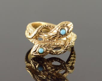 14k Turquoise Inset Detailed Snake Head Ring Gold