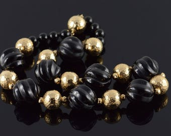 14k 18.8mm Carved Black Onyx Dimpled Hollow Ball Necklace Gold 16.5""