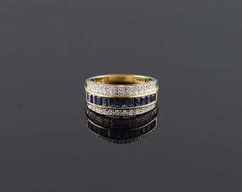 14k 0.82 Ctw Sapphire Diamond Pave Channel Band Ring Gold