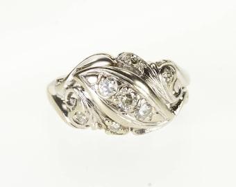14k Art Nouveau 0.20 CTW Diamond Wedding Band Ring Gold