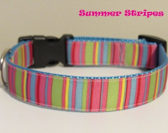 Summer Stripes Dog Collar