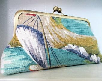 """Boat Dock Lighthouse Sailing Waves Vintage Barkcloth Fabric 8"""" Antique Brass Kisslock Frame Clutch Wristlet Crossbody Shoulder Bag Purse"""