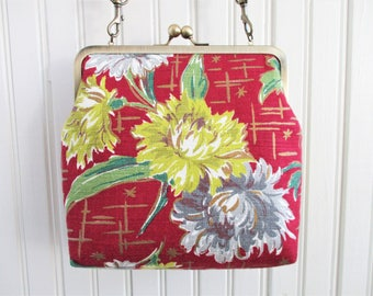 "Yellow and Gray Chrysanthemums on Maroon Ground with Gold Vintage Barkcloth Fabric 8"" Antique Brass Kisslock Frame Crossbody Shoulder Purse"