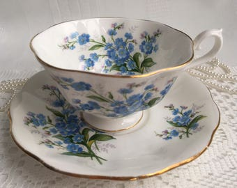 Reserved Royal Albert Bone China Tea Cup and Saucer, Forget Me Not, Blue Floral with Gold Trim