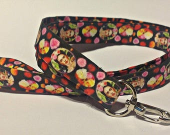 Frida Kahlo Lanyard, Key Fob,  Exclusive Design,Art Teachers,Artists,School,Frida Kahlo Flowers, Art Teacher Gift