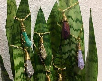 Simple Wrapped Raw Quartz Necklaces