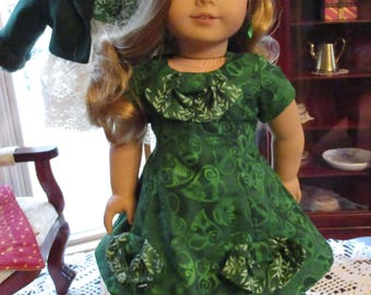 """Green Doll Dress to fit your 18"""" American Girl Doll with Optional Lace Underskirt and 50's Flair"""