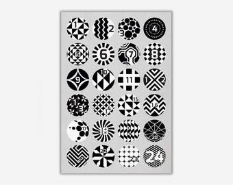 Stickers 1-24 'GEOMETRIC' // 24pcs. - 4cm