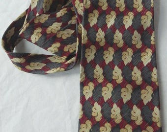 Jhane Barnes Japan 100% Silk Geometric Neck Tie - Red / Gray