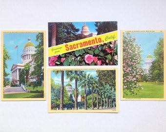 Vintage Sacramento California Capitol Postcard Art- Sacramento Wall Art- Greetings from Sacramento- Linen Postcard