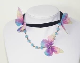 Butterfly necklace - butterfly choker - butterfly jewelry - butterfly velvet choker - butterfly gifts - unique necklace - butterfly gifts