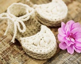 Crochet Sandals Pattern, Crochet Booties Pattern, Crochet Espadrille Pattern for Baby Girl, Crochet Newborn Booties Pattern