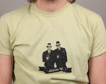 Men's tee. STICK'EM UP. Screen printed. Gangster / mobster