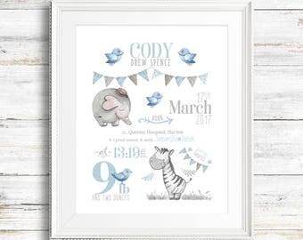 Birth Announcement Wall Art, Nursery Birth Print, Safari Nursery Prints, Safari Nursery Decor, Safari Nursery Art, Safari Animal Prints