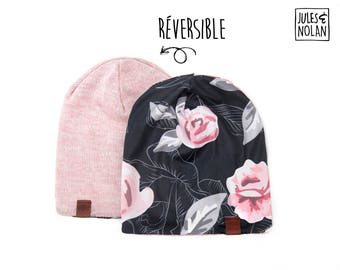 Fall  reversible slouchy beanie- Pink flowers/Pink knit