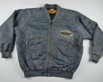 90s Rare 1993 Harley Davidson Motorcycle Full Zip 90th Anniversary Bomber Jacket Mens XL, Vintage Harley Davidson Jacket, Bomber Jacket