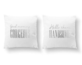 SET of 2 Pillows, Good Morning Gorgeous, Hello There Handsome, Wedding Gift, Throw Pillow, Her Pillow, Him Pillow, Cushion Cover,Gold Pillow