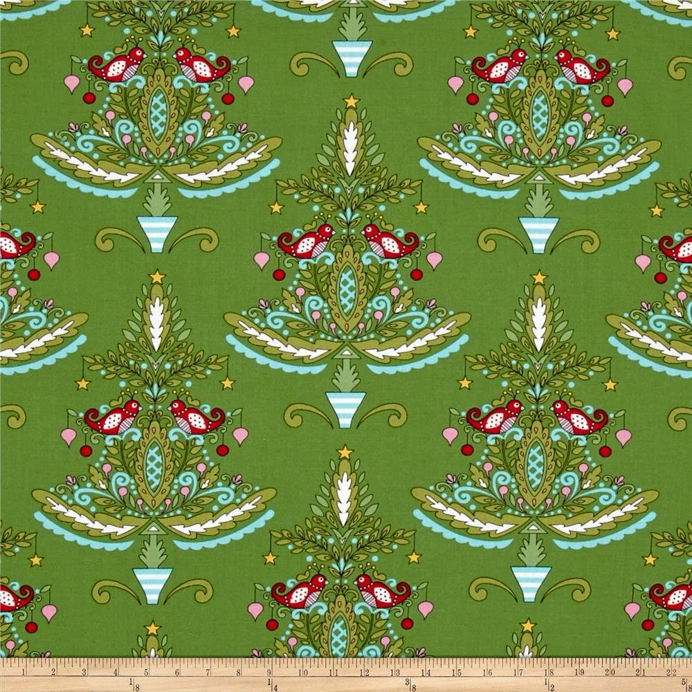 Merry Mistletoe Christmas Trees Cotton Fabric Dena Designs Free Spirit Bfab