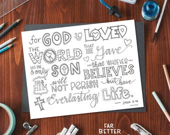 Bible Verse Coloring Page - John 3:16 - Printable Coloring Page - Bible Verse Coloring Pages - Christian Kids Activity - Christian Coloring