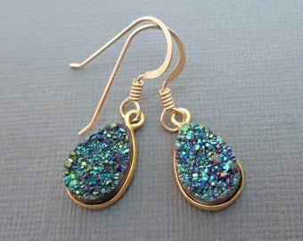 Green Druzy Earrings/ Druzy Earrings/ Peacock Gold Bezel Pear Druzy Earrings / Small Emerald Peacock Drusy Pear/ Gold Earrings//GE12