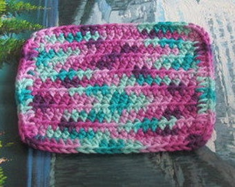 Hand crochet cotton dish cloth 6 by 6.5 cdc 108