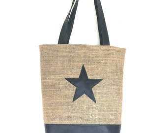 Star burlap tote bag
