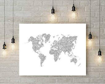 Large world map wall art, print, silver glitter, world map, map of the word, world map poster, travel map, office decor, home decor