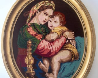 "Large French CANVAS Tapestry NEEDLEPOINT handmade ""La vierge et l'enfant Jésus"" with a Gold wooden frame seventies"