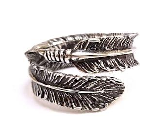 Silver Feather Ring 925 Sterlingsilver - Silber Feder Flügel Angel Engel Sterling by Serebra Jewelry