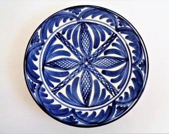 Mexican Decorative Plate, Talavera Blue White Plate, Mexican Wall Folk Art Pottery, Stoneware Plate, Ceramic Dinnerware Plate, 8.5''/22cm