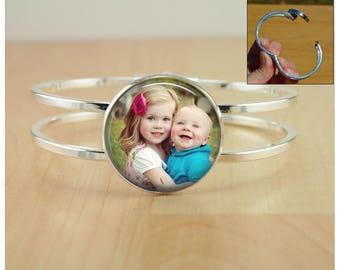 Photo Cuff Bracelet - Custom BABY Child Photo cuff Bracelet - Personalized photo bracelet Gift from husband from daughter