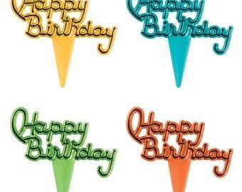 Happy Birthday Script Cupcake Picks - 24 count - 37993