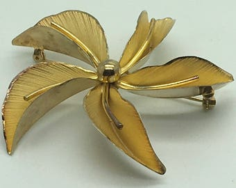 Bond Boyd Gold Vermeil Sterling Silver Floral Exotic Large  Orchid   Brooch Pin  Leaf Flower Gift For Her Birthday Anniversary